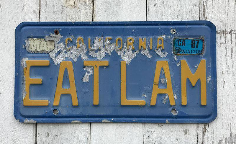 Licence plate from California